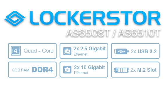 Asustor 華芸 NAS banner icon Shift into overdrive with dual Intel 10GbE, M.2 SSD Cache and 2.5GbE!